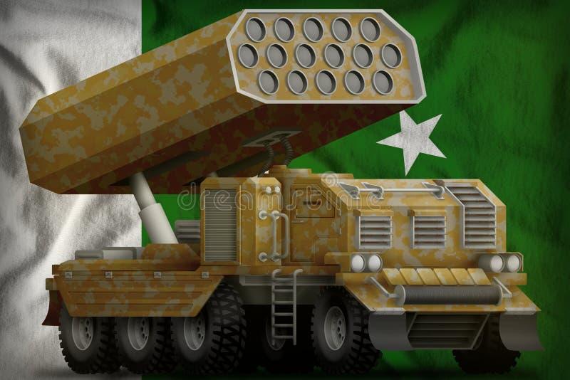 火箭队火炮,有沙子伪装的导弹发射装置在巴基斯坦国旗背景 3d例证 皇族释放例证
