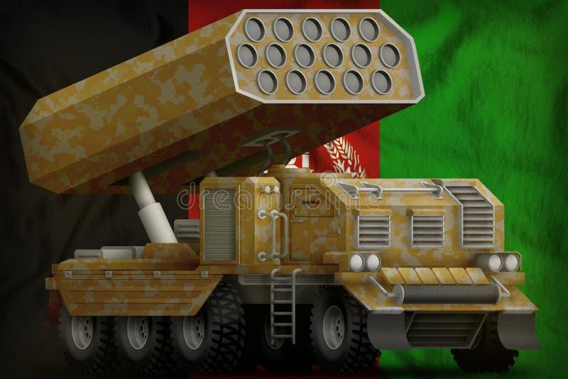 火箭队火炮,有沙子伪装的导弹发射装置在阿富汗国旗背景 3d例证 库存例证
