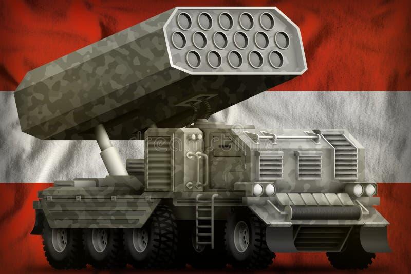 火箭队火炮,有灰色伪装的导弹发射装置在奥地利国旗背景 3d例证 向量例证