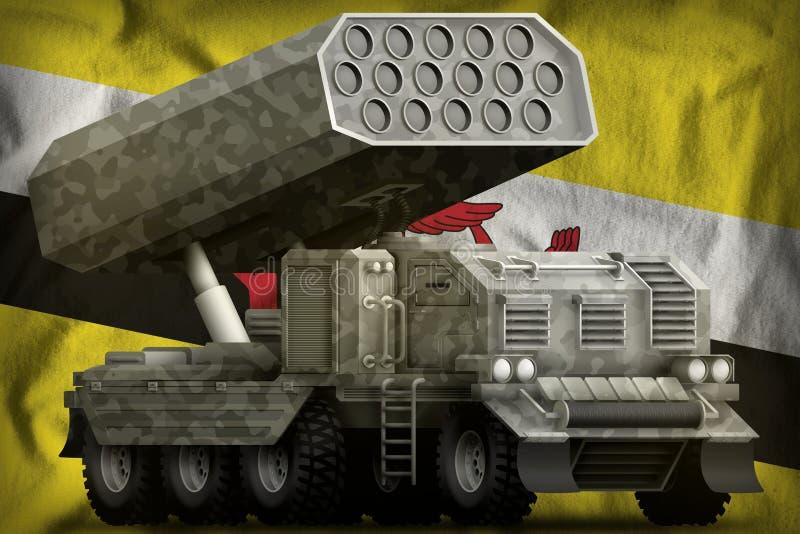 火箭队火炮,有灰色伪装的导弹发射装置在文莱达鲁萨兰国旗背景 3d例证 皇族释放例证