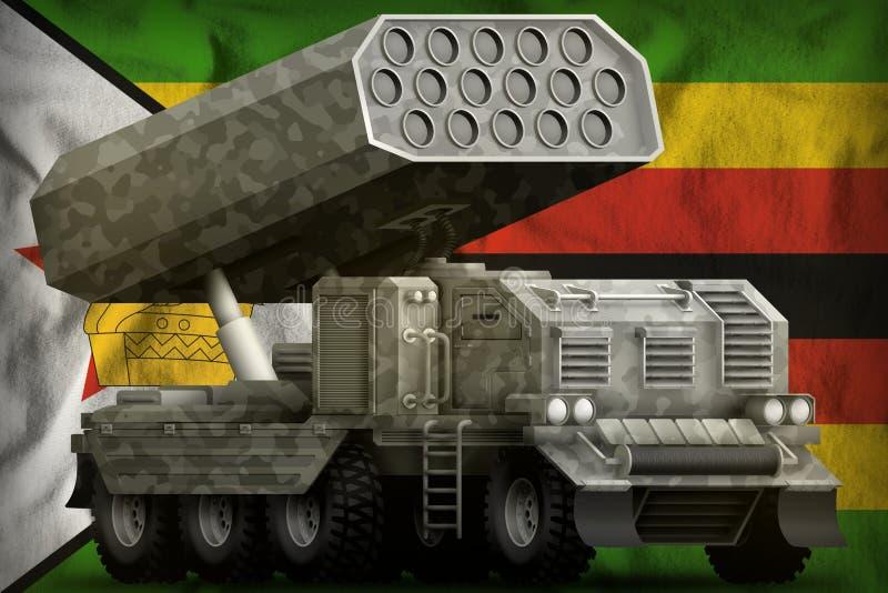 火箭队火炮,有灰色伪装的导弹发射装置在津巴布韦国旗背景 3d例证 皇族释放例证