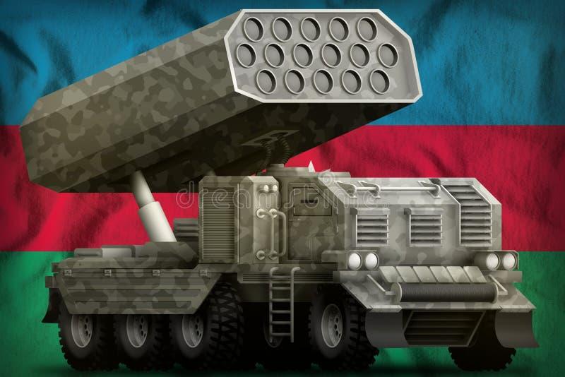 火箭队火炮,有灰色伪装的导弹发射装置在阿塞拜疆国旗背景 3d例证 向量例证