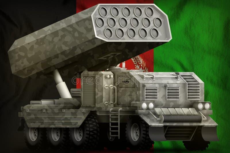 火箭队火炮,有灰色伪装的导弹发射装置在阿富汗国旗背景 3d例证 库存例证