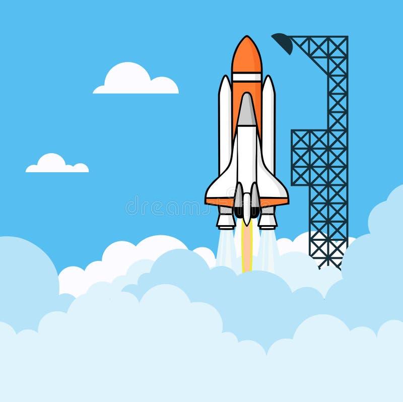 火箭队腾飞入天空例证 库存例证