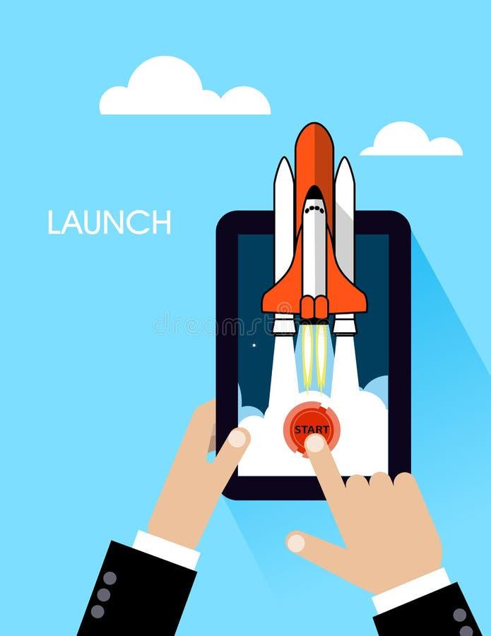 火箭队象 新的企业项目的概念和发行一个新的创新产品 库存例证