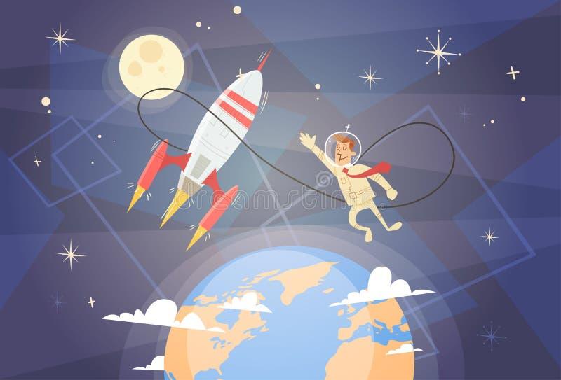 火箭队飞行天空商人起始的成功概念 皇族释放例证