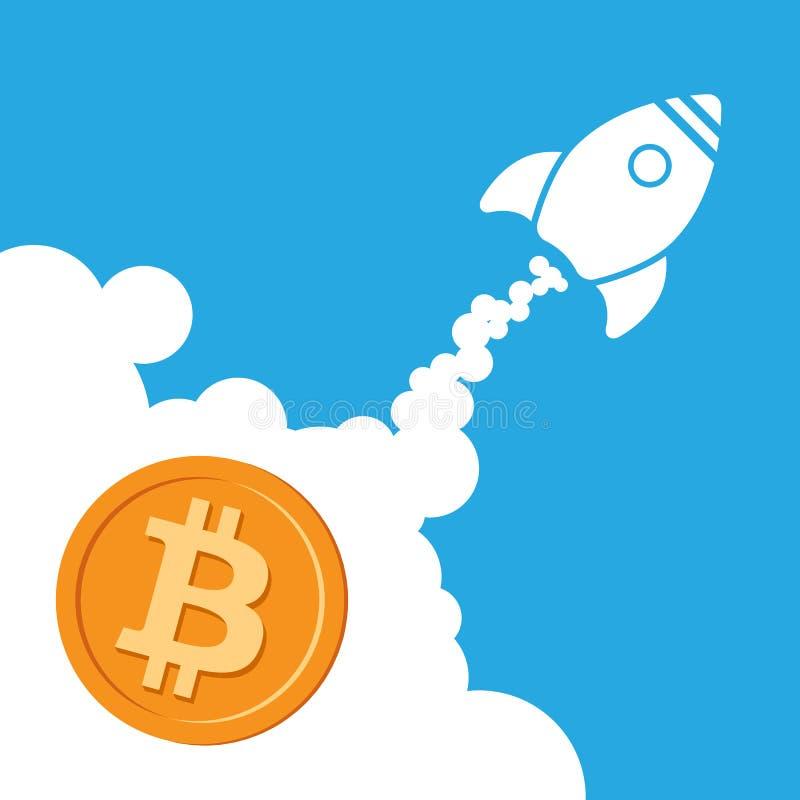 火箭队bitcoin象 Cryptocurrency开始概念 库存例证