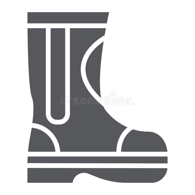 火胶靴纵的沟纹象、消防员和衣裳,消防队员起动签字,向量图形,在白色的一个坚实样式 库存例证