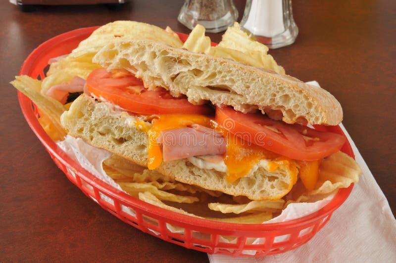 火腿和乳酪panini 免版税图库摄影