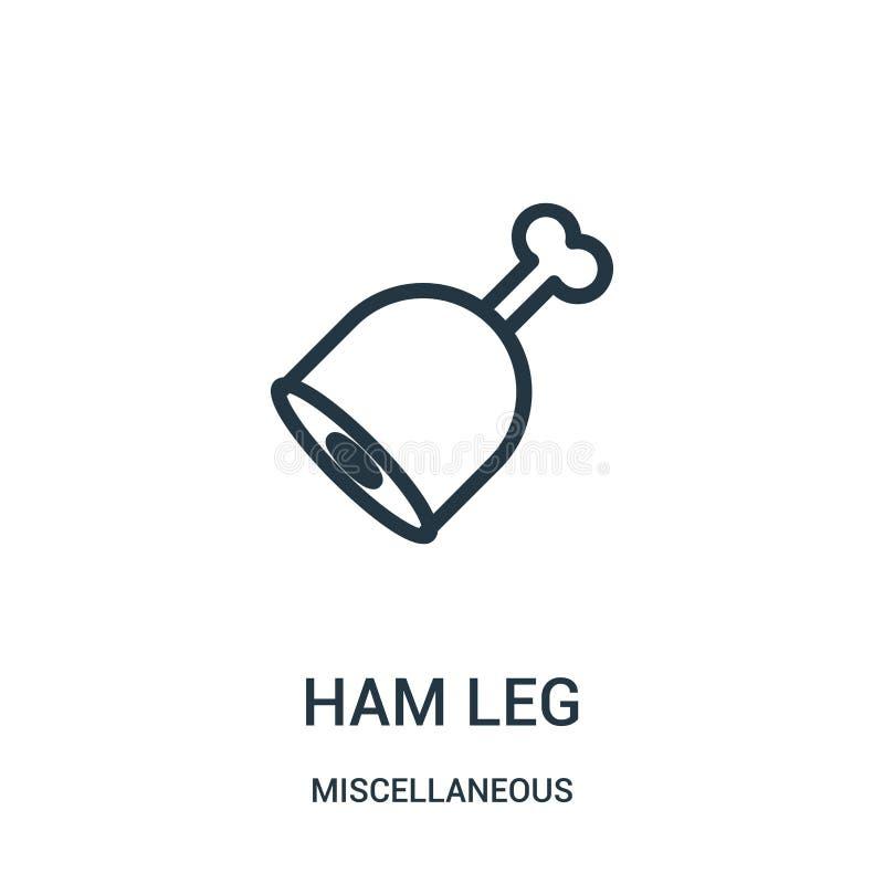 火腿腿从混杂收藏的象传染媒介 稀薄的线火腿腿概述象传染媒介例证 线性标志为使用 向量例证