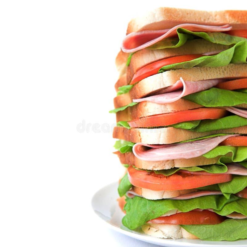 火腿莴苣三明治高蕃茄 免版税图库摄影