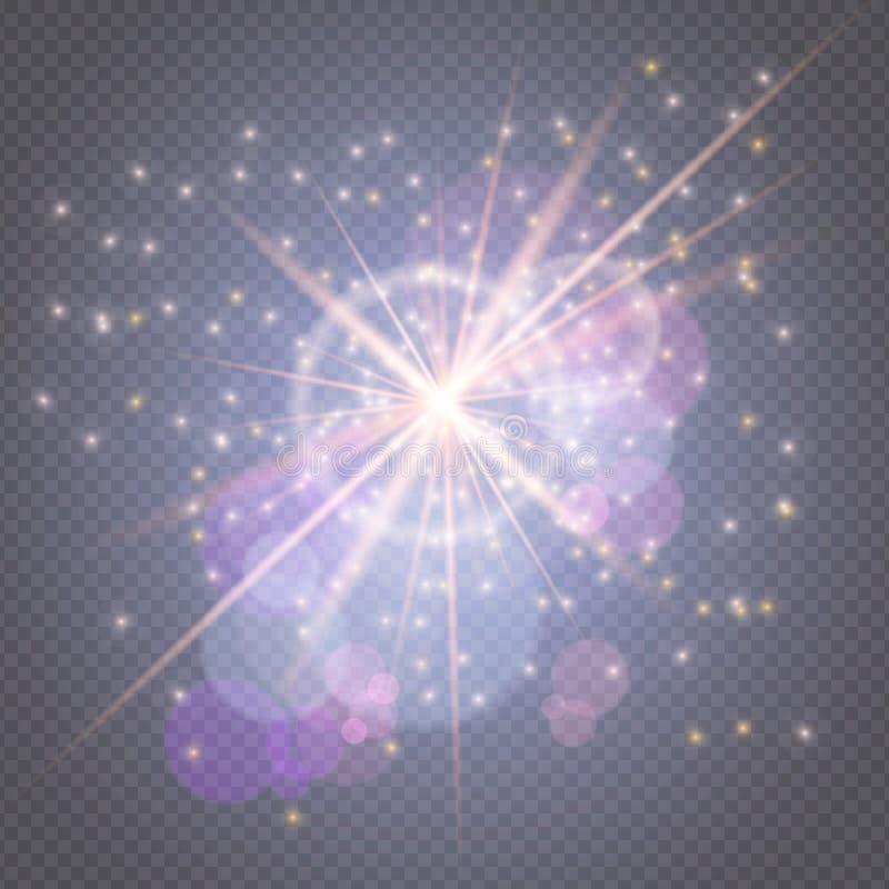 火花闪烁发光-星破裂了与在透明背景隔绝的透镜火光的焕发 光线影响装饰为 皇族释放例证