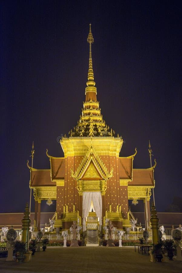 火葬寺庙在金边柬埔寨 免版税库存图片