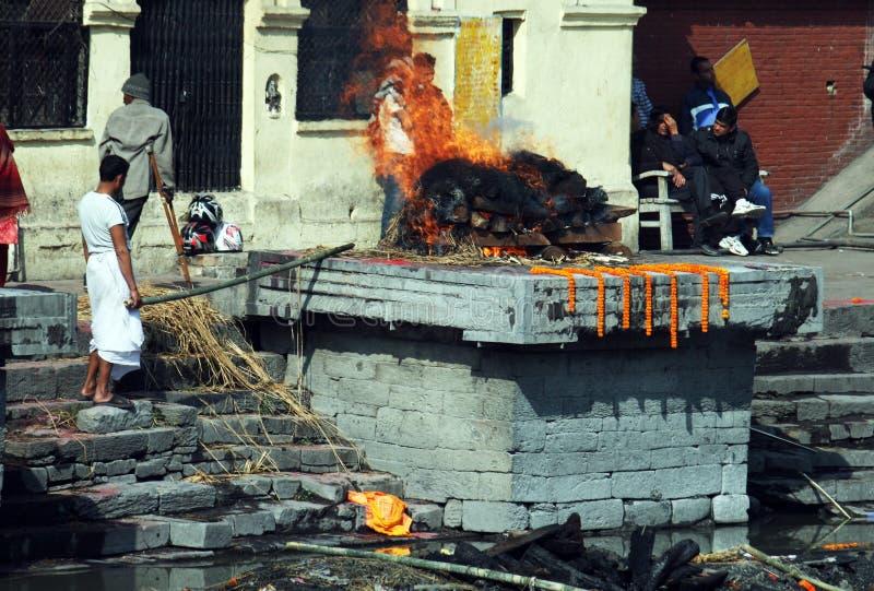 火葬用的柴堆 库存图片