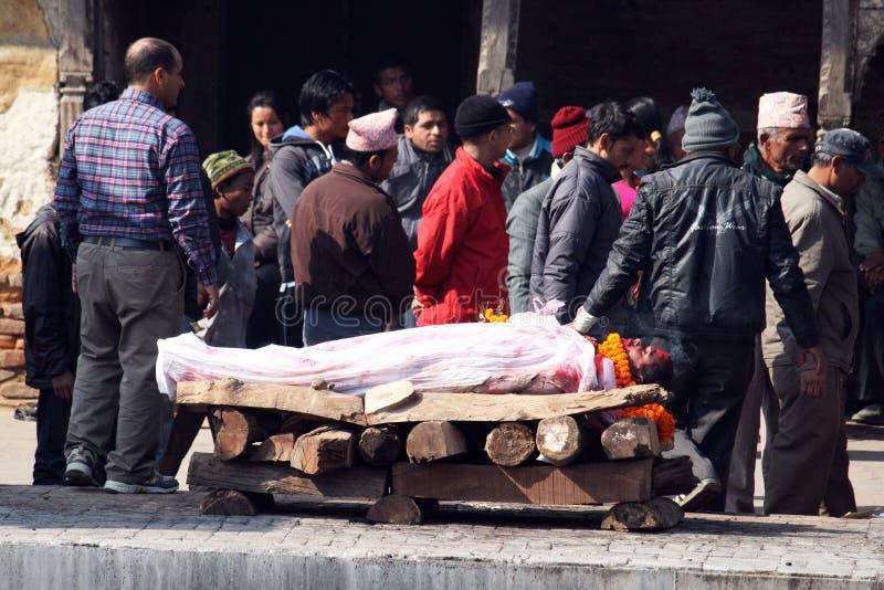 火葬用的柴堆 免版税库存照片