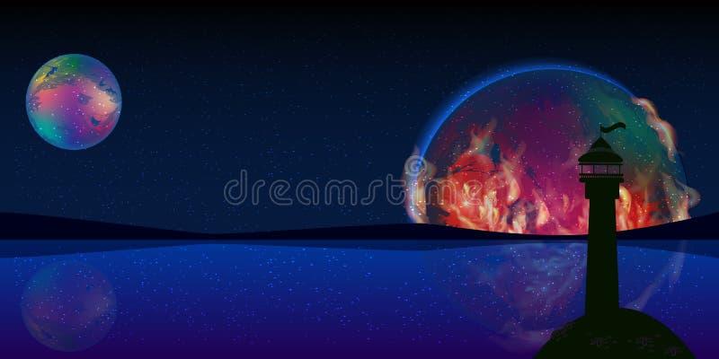 火行星信号空间灯塔 库存照片