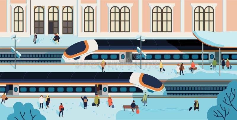 火车停止了反对在背景,走和等待在平台的人们的火车站大厦报道由雪 库存例证