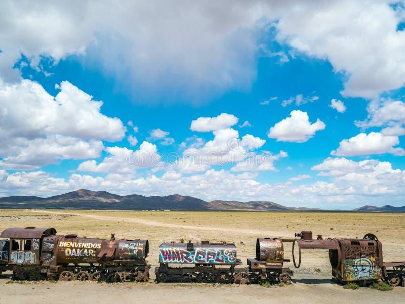 火车公墓在Uyuni,玻利维亚 免版税库存照片