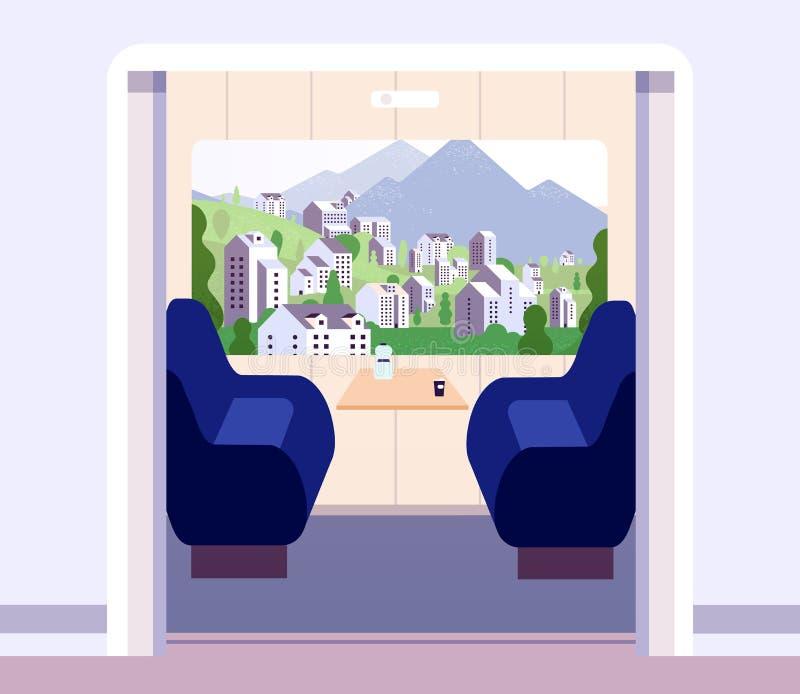 火车内部 没有旅行家的空的火车隔间 夏天风景在教练窗口里 火车旅行传染媒介 库存例证