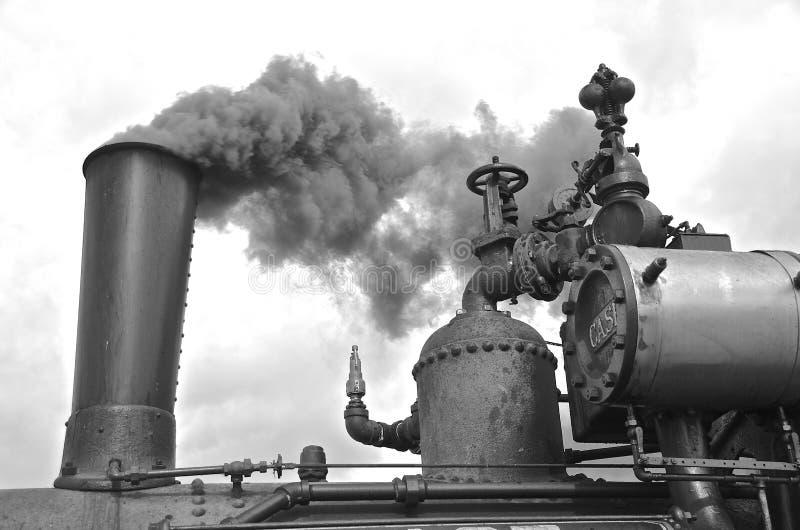 火车吹后面牛的蒸汽引擎 库存照片