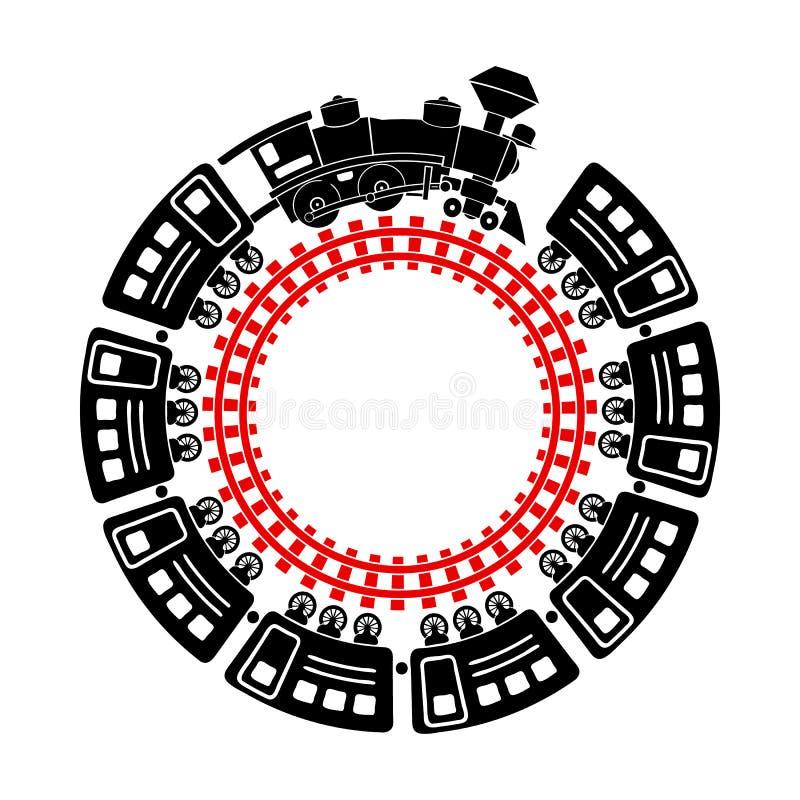 火车和圆的铁路象,简单的样式 皇族释放例证