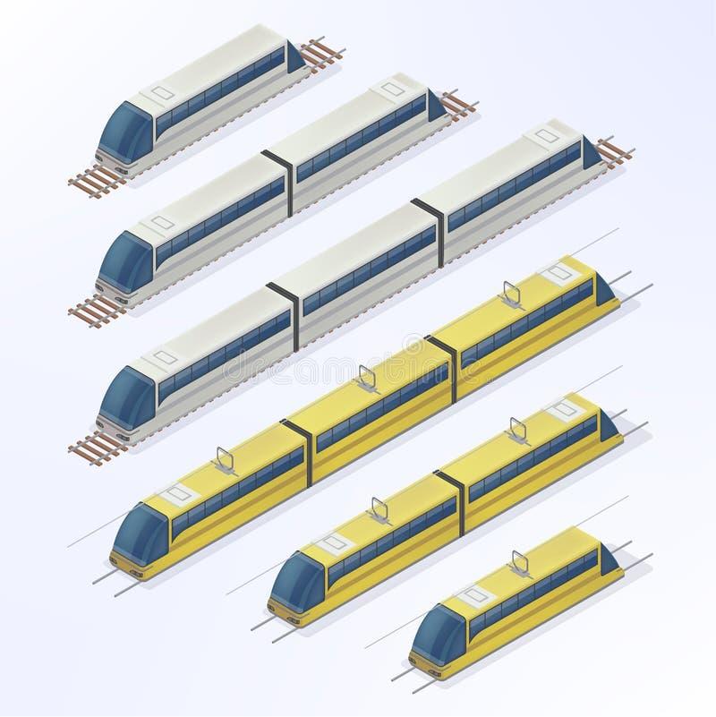 火车和电车等量集合 现代都市客运 库存例证