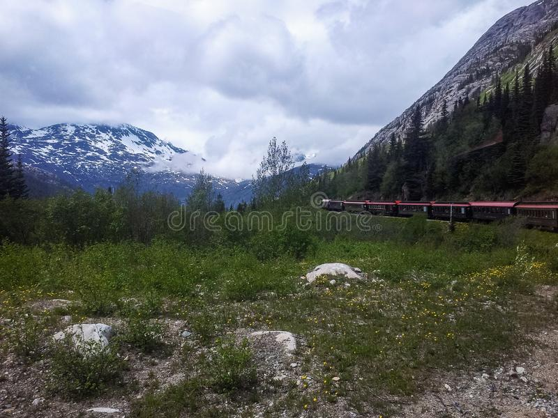 火车游览向从沿途停靠的港口的育空史凯威,阿拉斯加,美国 免版税图库摄影