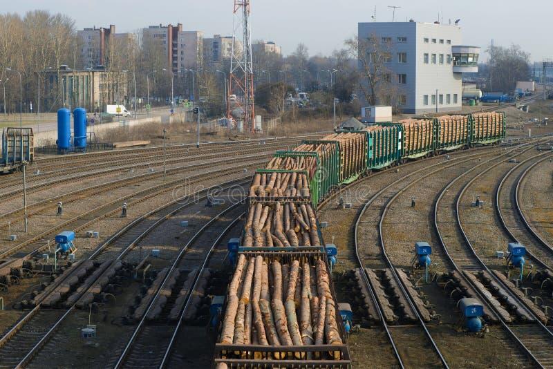 火车用木材装载了在排序的驻地的铁路轨道 免版税库存照片
