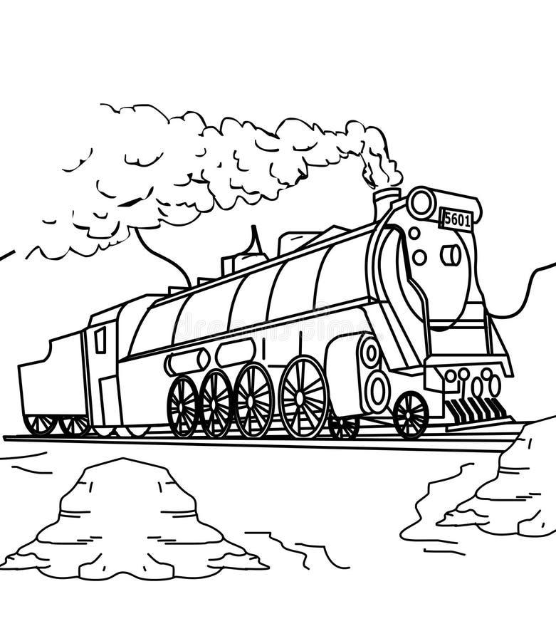 火车着色页 皇族释放例证