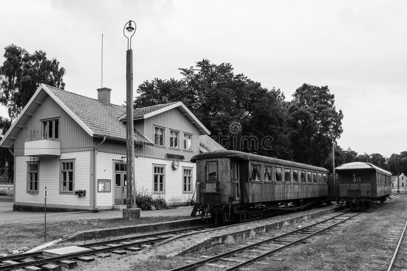 火车站。Vadstena。瑞典 图库摄影