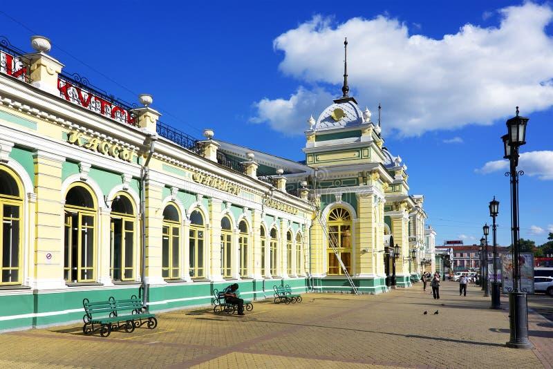 火车站在伊尔库次克,东西伯利亚,俄罗斯联邦 免版税库存图片