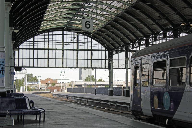 火车站在船身城市,约克夏,英国东部骑马  库存图片