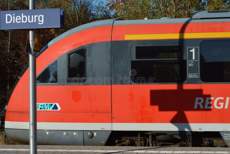 火车站在迪堡,黑森,德国 库存图片