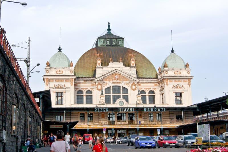 火车站大厦在Pilsen,捷克 库存照片