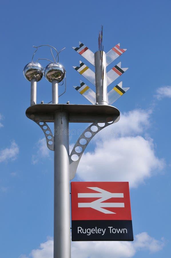 火车站标志Rugeley镇 免版税库存照片
