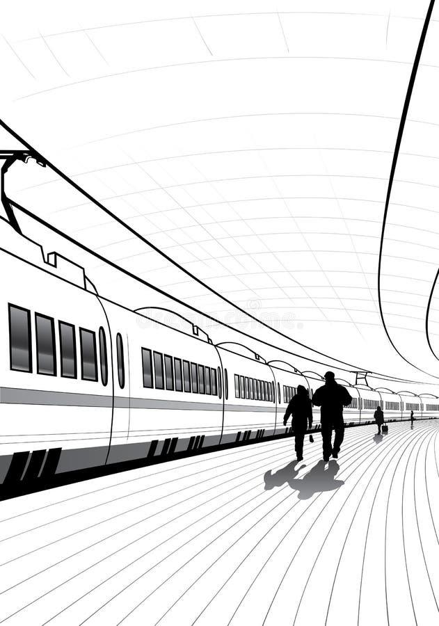 火车站的人们 皇族释放例证