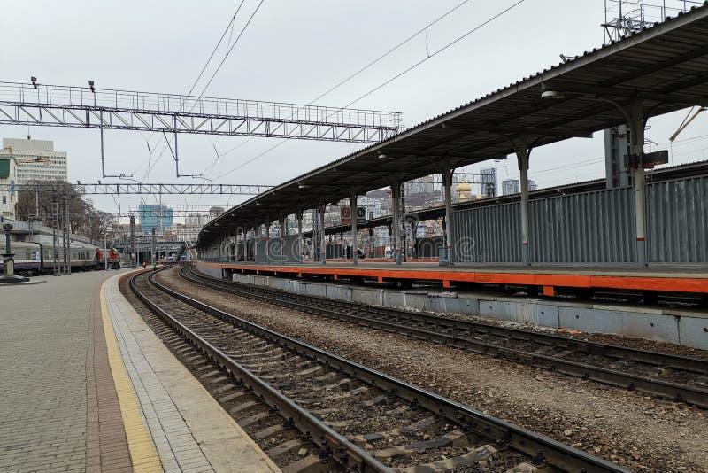 火车站的平台 图库摄影