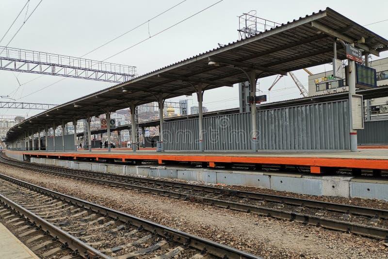 火车站的平台 免版税库存照片