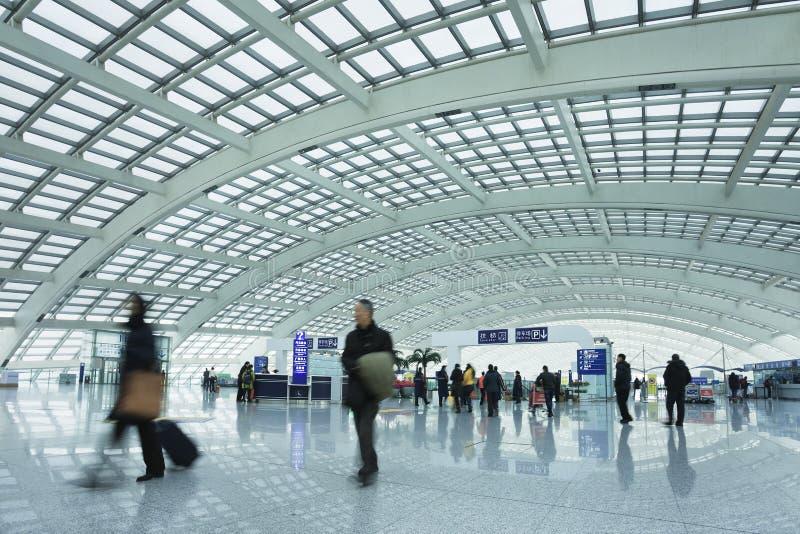 火车站的,北京首都国际机场乘客 免版税图库摄影