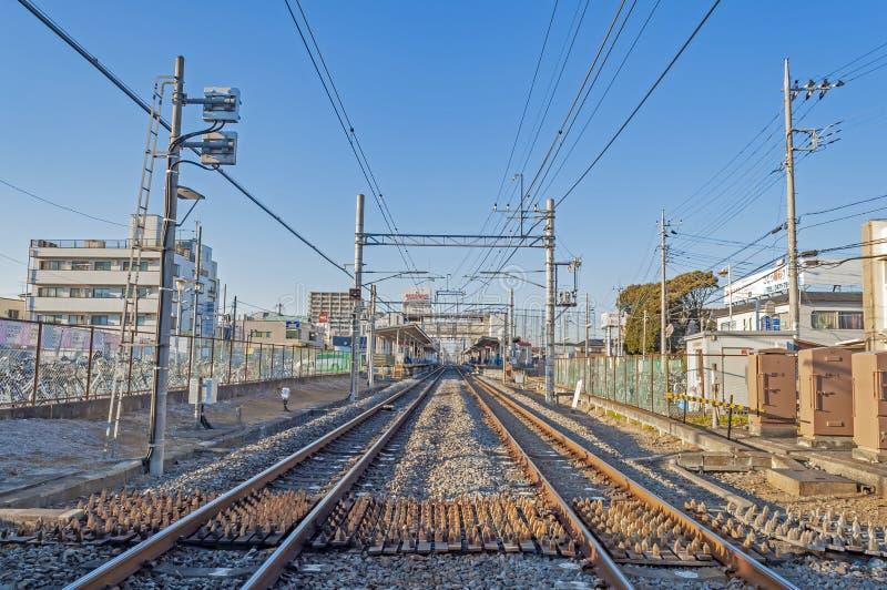 火车站视图在市区在日本 免版税库存照片