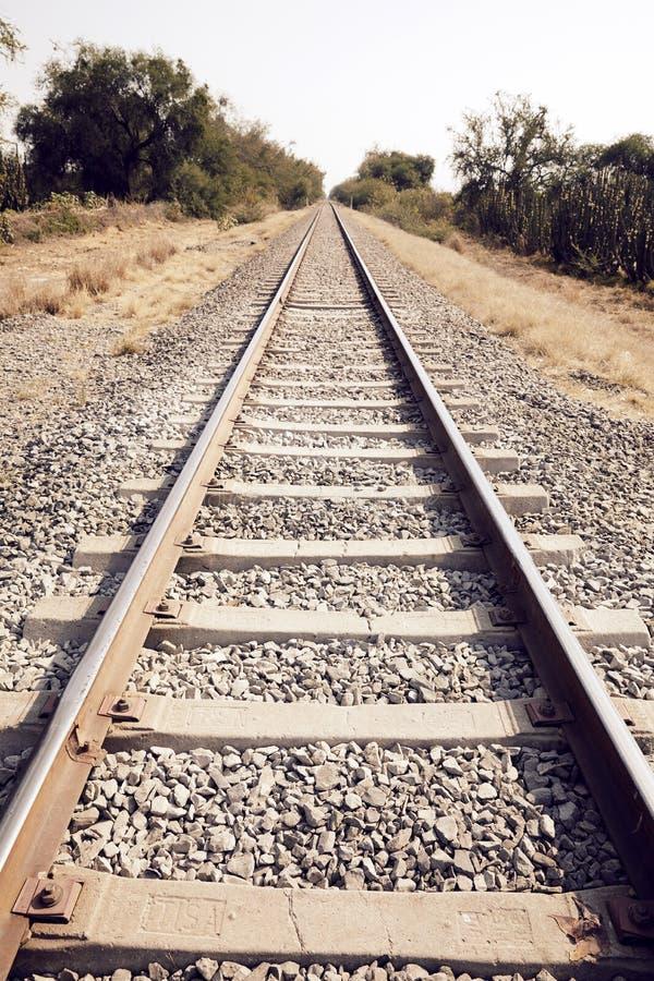 火车跟踪成为不饱和的风景 免版税库存图片