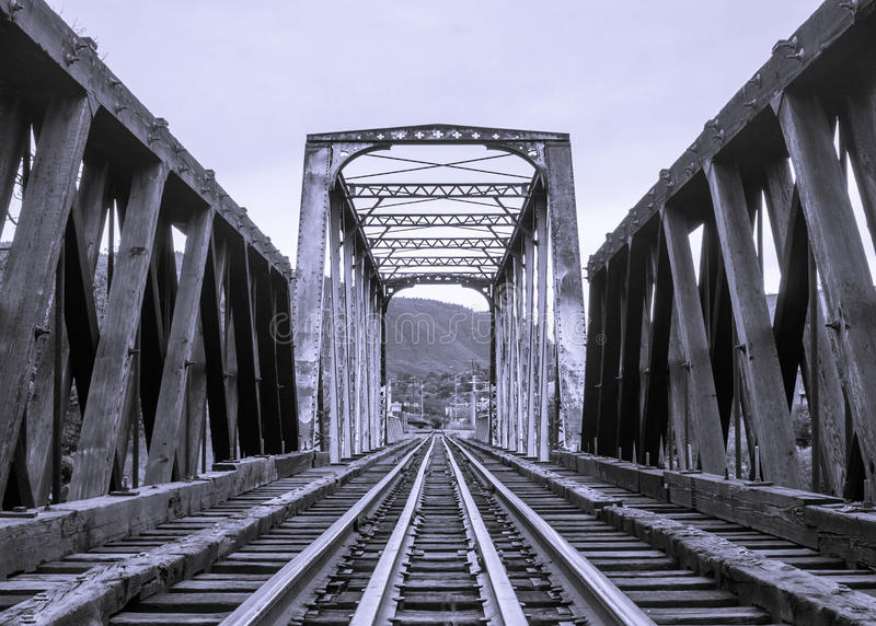 火车跟踪桥梁 图库摄影
