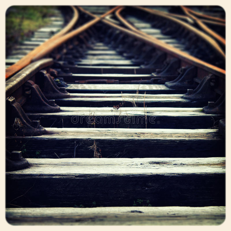 火车跟踪老照片 库存照片
