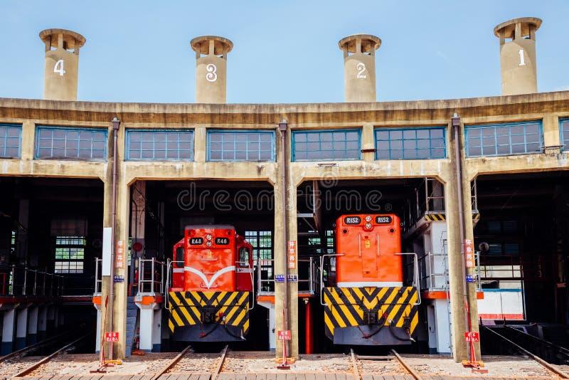 火车车库彰化圆形机车库在台湾 库存照片