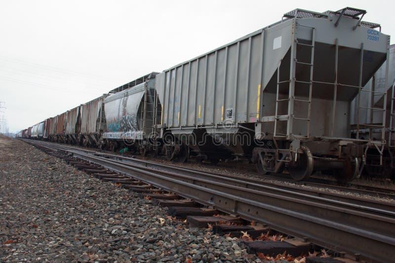 火车轨道和有轨机动车 图库摄影