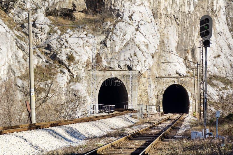 火车轨道和隧道在岩石 库存图片