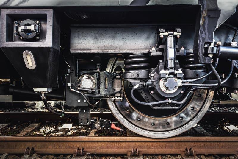 火车轮子特写镜头 铁路产业 免版税库存照片