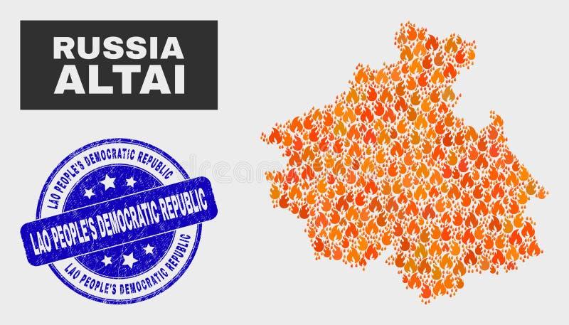火马赛克阿尔泰共和国地图和难看的东西老挝人民民主共和国水印 向量例证