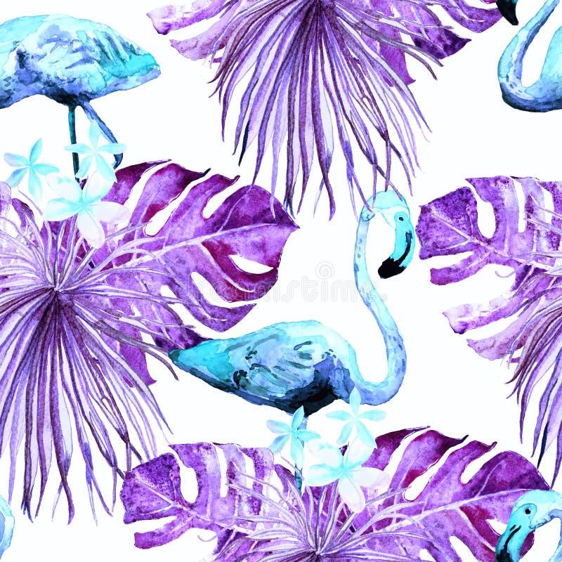 火鸟样式 夏天水彩背景 向量例证