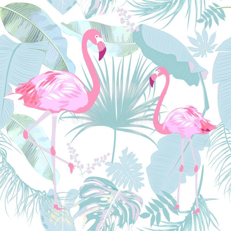 火鸟的无缝的样式,离开monstera 棕榈树和花热带叶子  向量例证